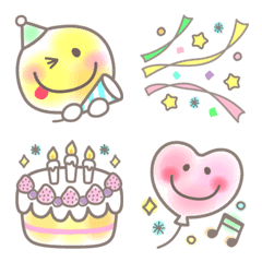 Pastel Neon Watercolor Smile Emoji