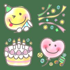 อิโมจิไลน์ Pastel Neon Watercolor Smile Emoji