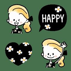อิโมจิไลน์ Adult girly floral pattern x black emoji
