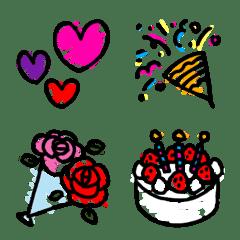 อิโมจิไลน์ Graffiti-like celebration Emoji