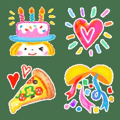 อิโมจิไลน์ Hi! Happy Girl! Emoji Anniversary