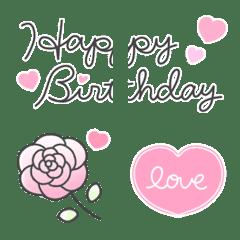 อิโมจิไลน์ Pink x Heart Sweet & Lovely Emoji