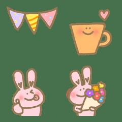 อิโมจิไลน์ Happy lovely bunny rabbit celebration