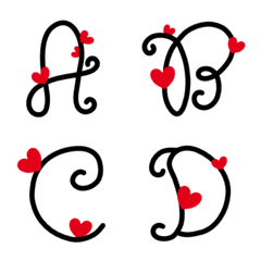 English calligraphy alphabet with heart