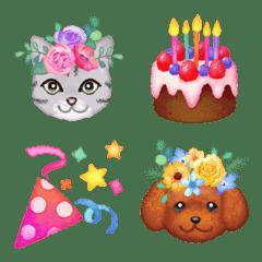 อิโมจิไลน์ Watercolor Emoji - Celebration (ENG)