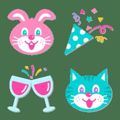 อิโมจิไลน์ Pastel Animals Emoji of celebration