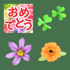 อิโมจิไลน์ congratulations with little flowers 2