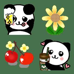 อิโมจิไลน์ ล้างแพนด้าและดอกไม้ em อีโมจิฉลอง