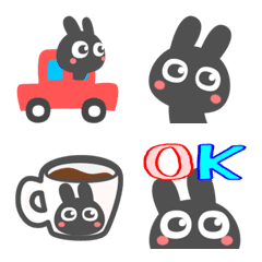 讓我們使用它!可愛的黑兔子表情符號