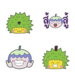 Durian and Mangosteen cute emoji