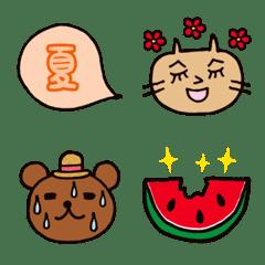 Nyanko & Kuma-chan Emoji -Summer-