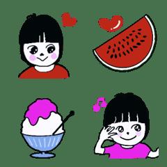 Pretty girl colorful emoji