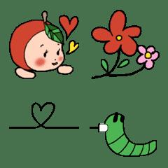 Cute baby Apple & caterpillar Emoji ver.