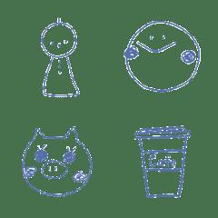 Blue simple emoji