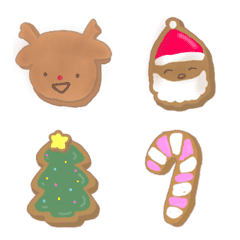 อิโมจิไลน์ reindeer and christmas cookies emoji