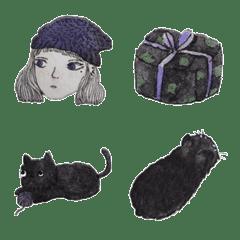 紫色女孩與她的貓_她們的微小...