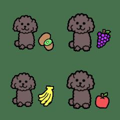 อิโมจิไลน์ A black poodle and fruit
