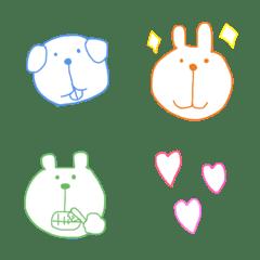 Colorful simple emoji Animals