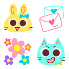 Colorful rabbits and cats .