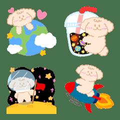 Puffy dog in galaxy colorful emoji