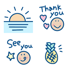 Smiley word emoji, summer version