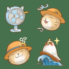 อิโมจิไลน์ Cat's Lifestyle Summer Emoji