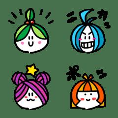อิโมจิไลน์ Emoji of four cute sisters.