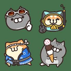 Plump dog&cat  summer Emoji