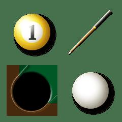 ビリヤードの球とキュー