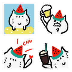 Emoji of the cat of the watermelon hat