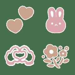 อิโมจิไลน์ Cute pink and beige simple emoji