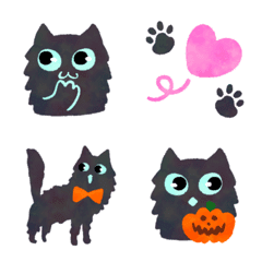 Fluffy black cat,halloween