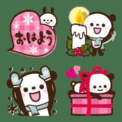 อิโมจิไลน์ Rabbit & Panda Emoji25. Winter1.